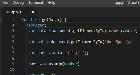 debugger keyword