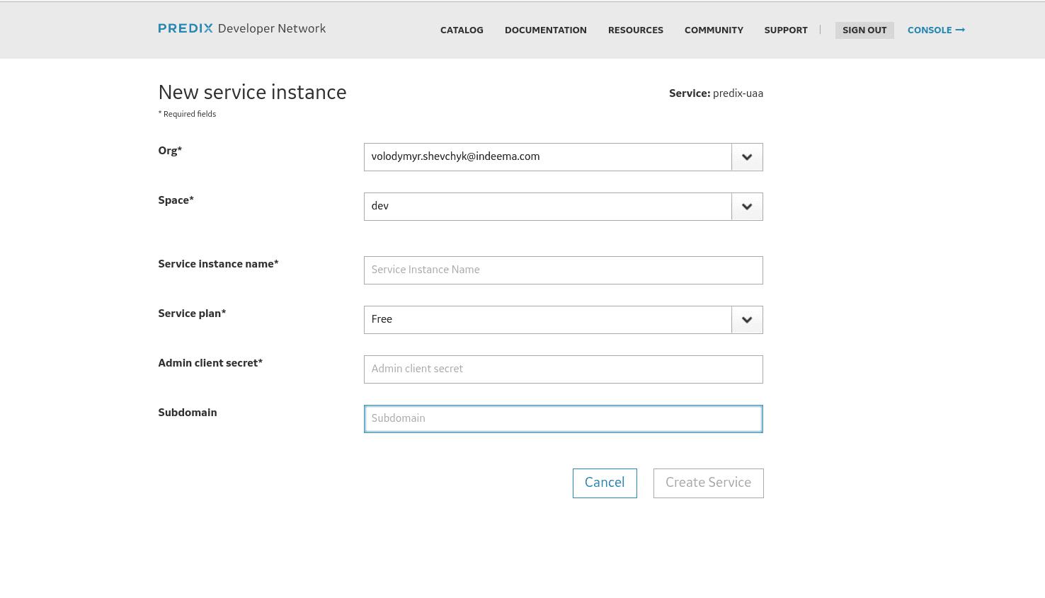 New service instance Predix