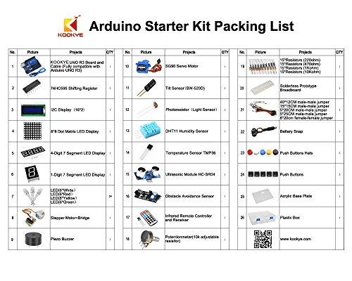 Arduino starter kit packing list