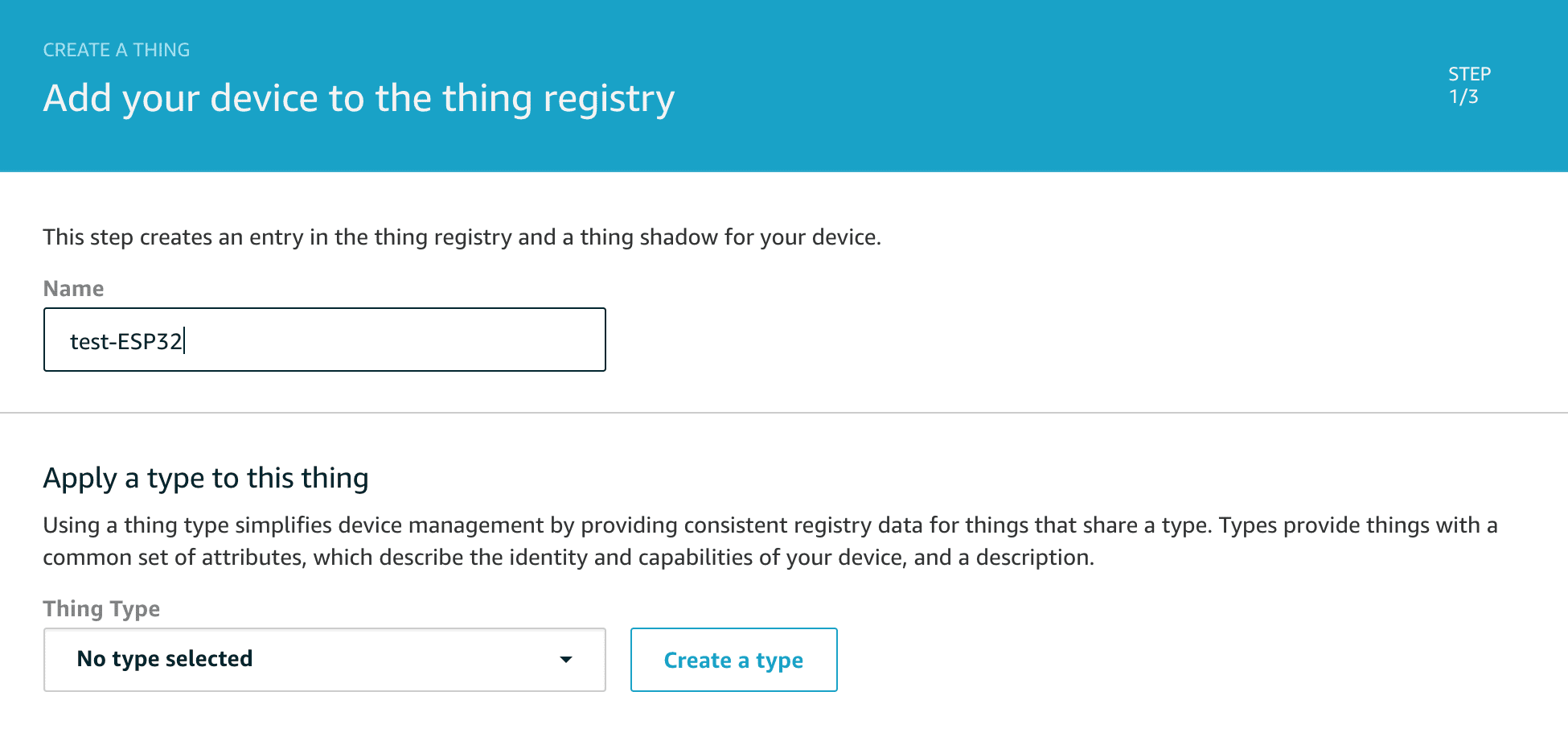 Add your device in IoT core