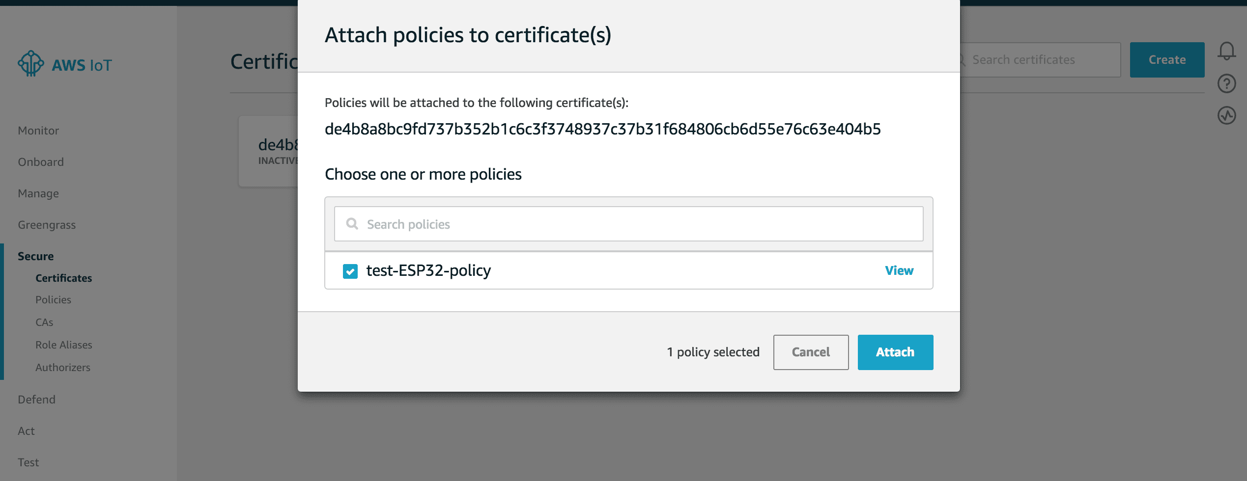 Attach policies to certificates in AWS IoT