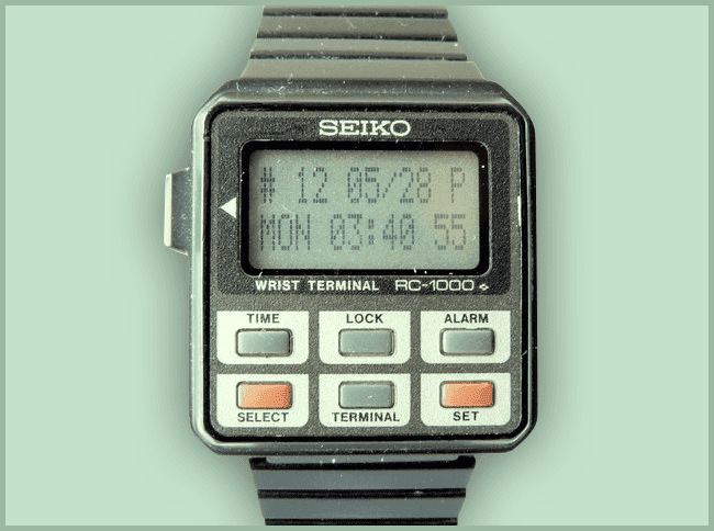 Seiko RC-1000 Wrist Terminal - both watch and terminal remote access to the PC (1984)