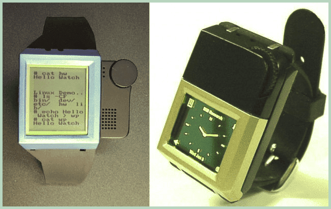 The first and second prototype smartwatches IBM Linux Watch (2000)